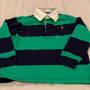 Ralph Lauren green and blue striped sweatshirt